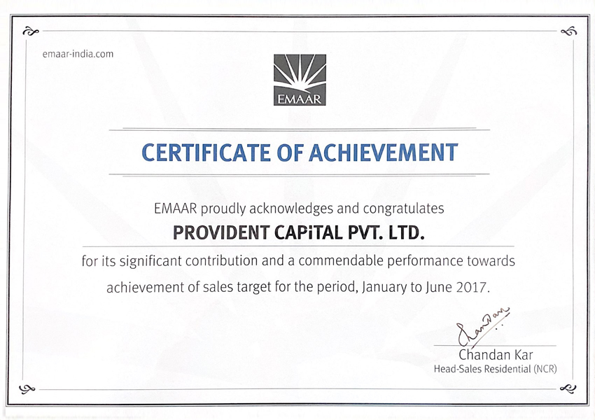 emaar-certificate-of-achievement-provident-capital-awards